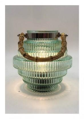 "Cor Mulder Gl.-Laterne ""LED"" m. Bambusgriff 16cm h.-grün"