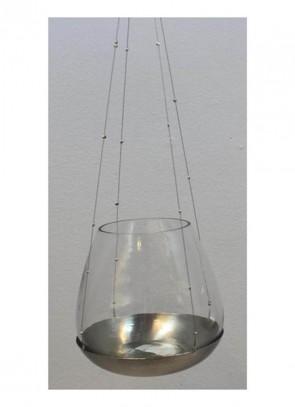 Cor Mulder Gl.-Teelicht-Hänger 15 cm silber